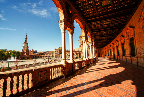 Beatiful path of Plaza Espana in Sevilla Spain