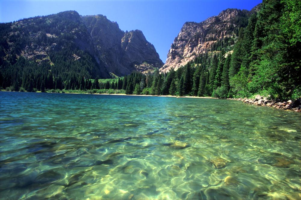 Beautiful day at Phelps Lake in Grand Teton National Park Wyoming