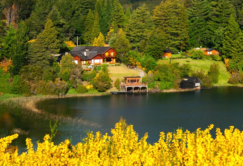 Beautiful landscape with cottage near a lake and trees in Villa La Angostura Patagonia Argentina