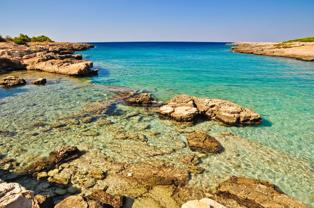 Beautiful sea of Porto Selvaggios coast natural reserve in Salento Apulia