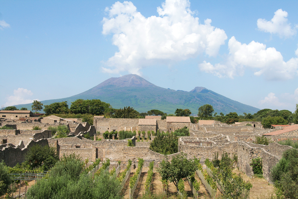 Beautiful view of Pompeii and Mount Vesuvius