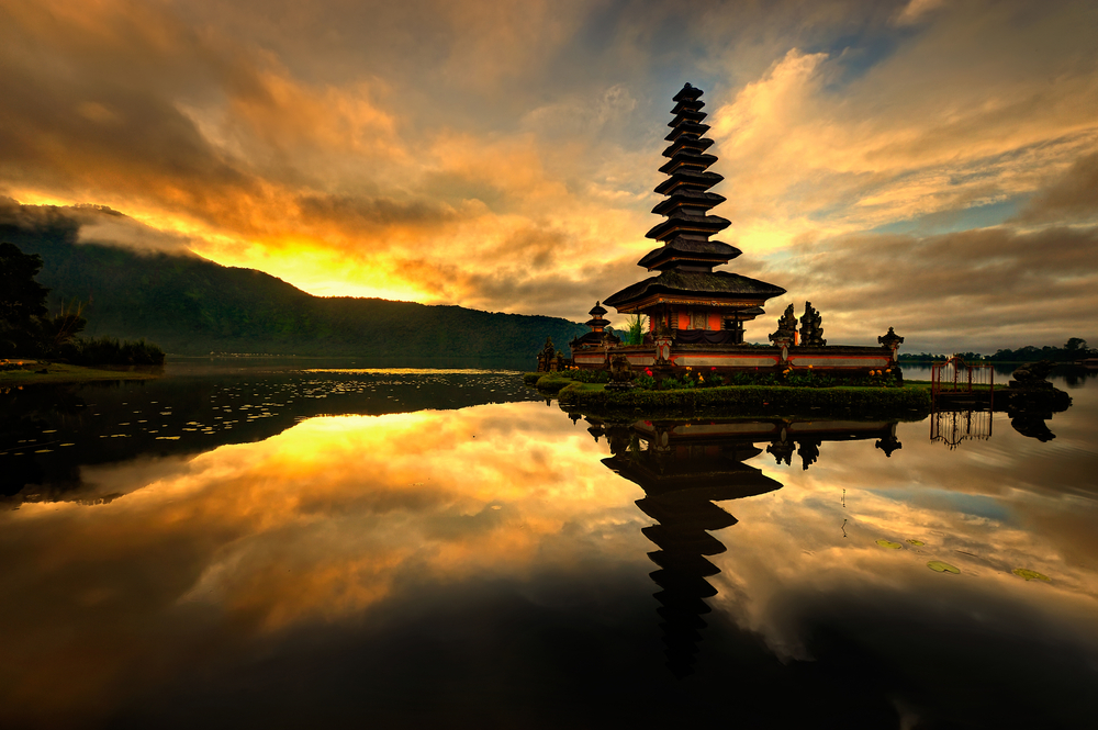 Bedugul is a mountain town in Bali Indonesia located in the center north region of the island near lake Bratan on the road between Singaraja and Denpasar