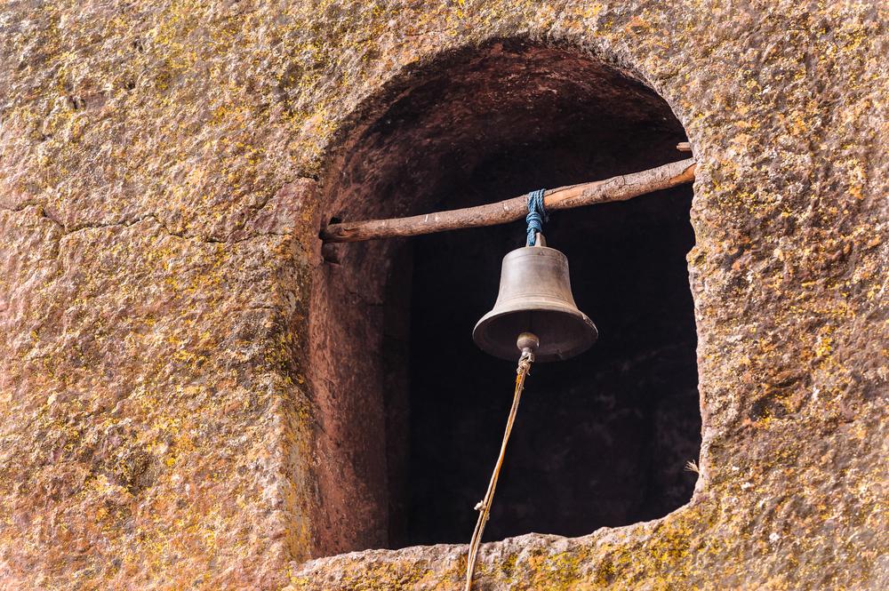 Bell of the Monolitic rock cut church Lalibela Ethiopia