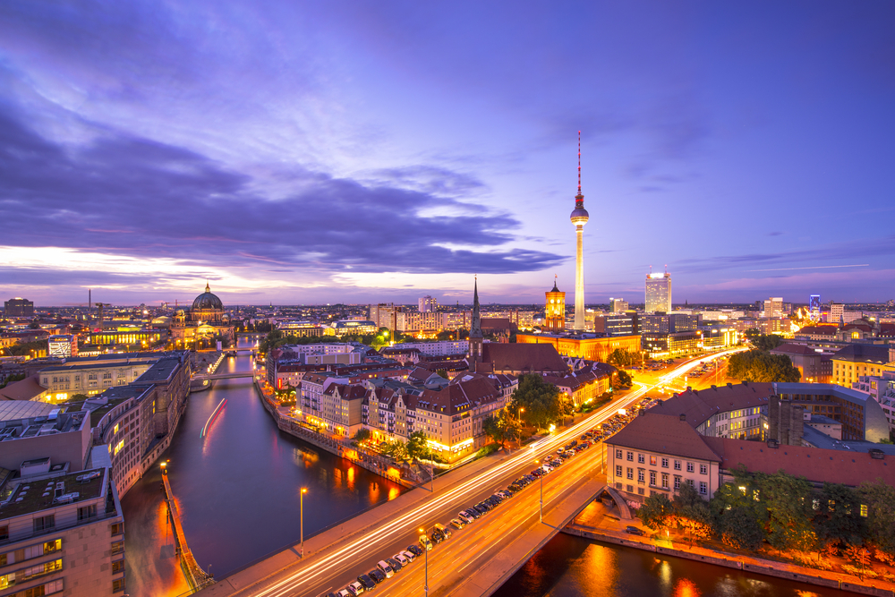 Berlin Germany viewed from above the Spree River