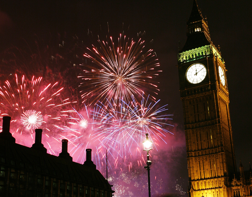 Big Ben at midnight New Years Eve anno nuovo