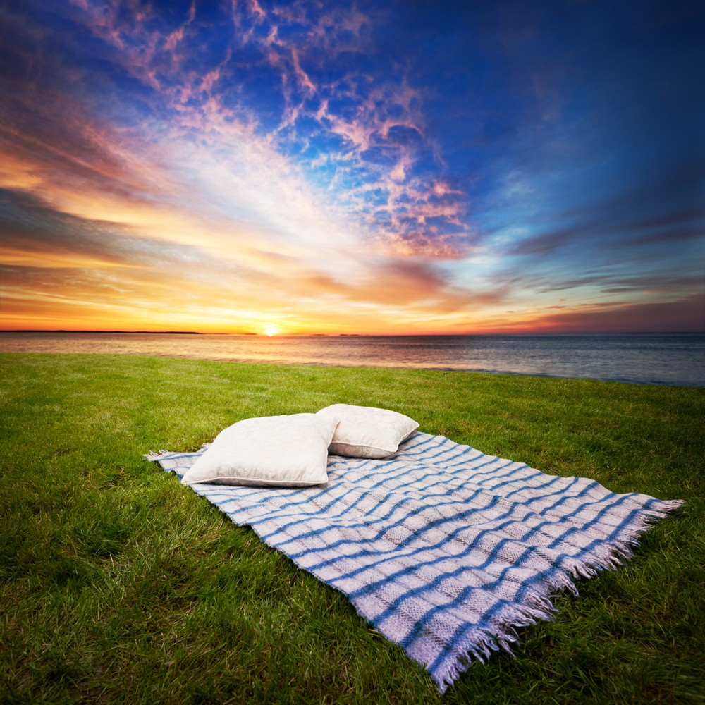 Blanket and pillows for two in a peaceful spot