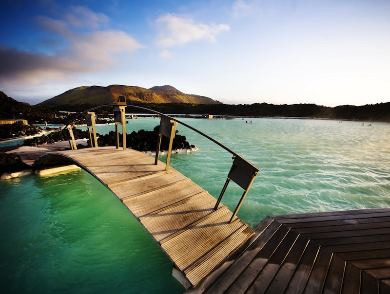 Blue Lagoon geothermal baths at sunset Iceland