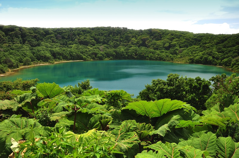 Blue Lake in Poas National Park of Costa Rica
