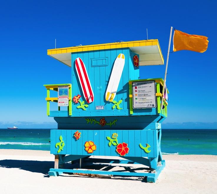 Blue Lifeguard Tower in South Beach Miami Beach Florida