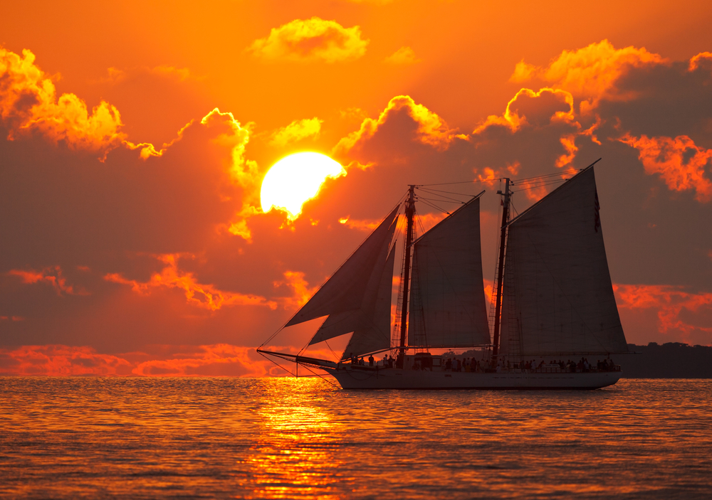 Boat on the sea at sunset in Key West Florida