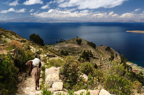Bolivia Isla del Sol on the Titicaca lake the largest highaltitude lake in the world 3808m This islands legendary Inca creation site a