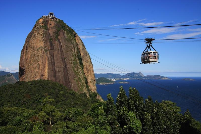 Brazil Rio de Janeiro Sugar loaf Mountain Pao de Acucar and cable car