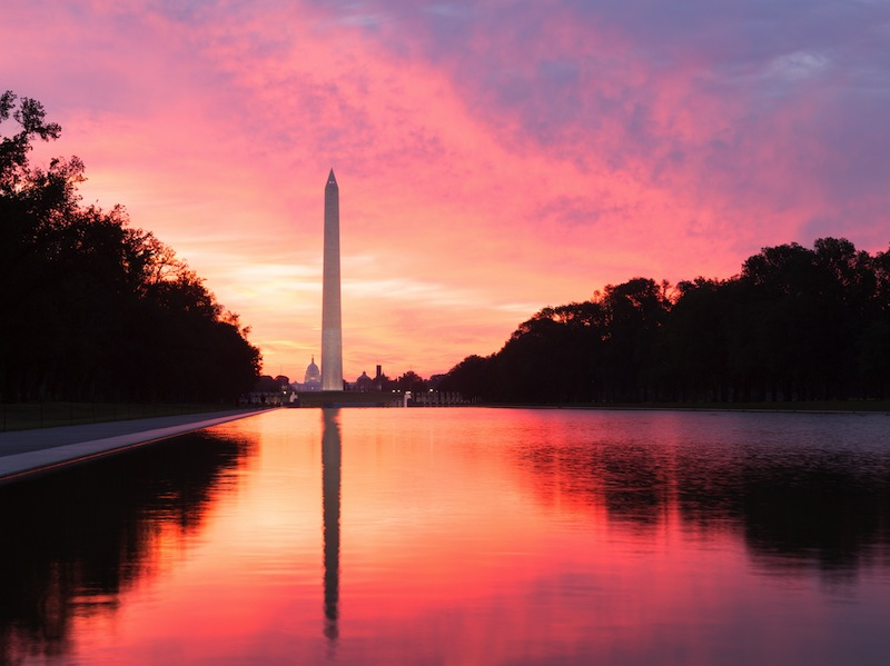 Bright red and orange sunrise at dawn reflects Washington Monument in new reflecting pool by Lincoln Memorial jpg