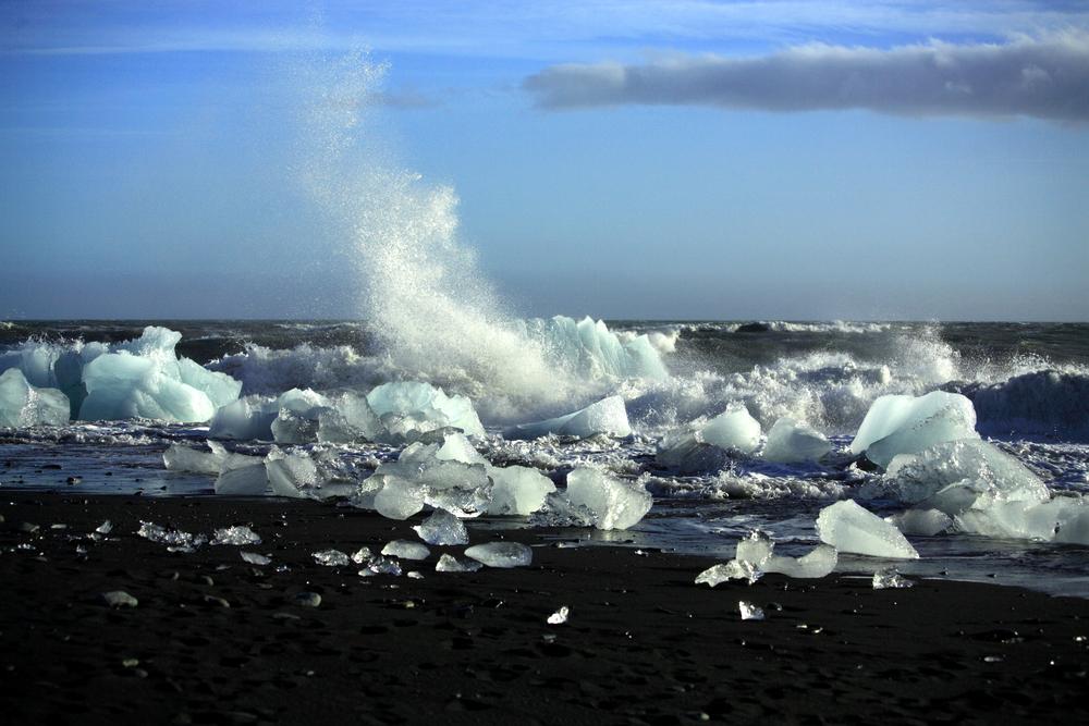 Broken icebergs on the beach in Iceland