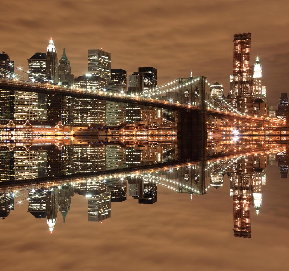 Brooklyn Bridge and Manhattan Skyline At Night New York City 2