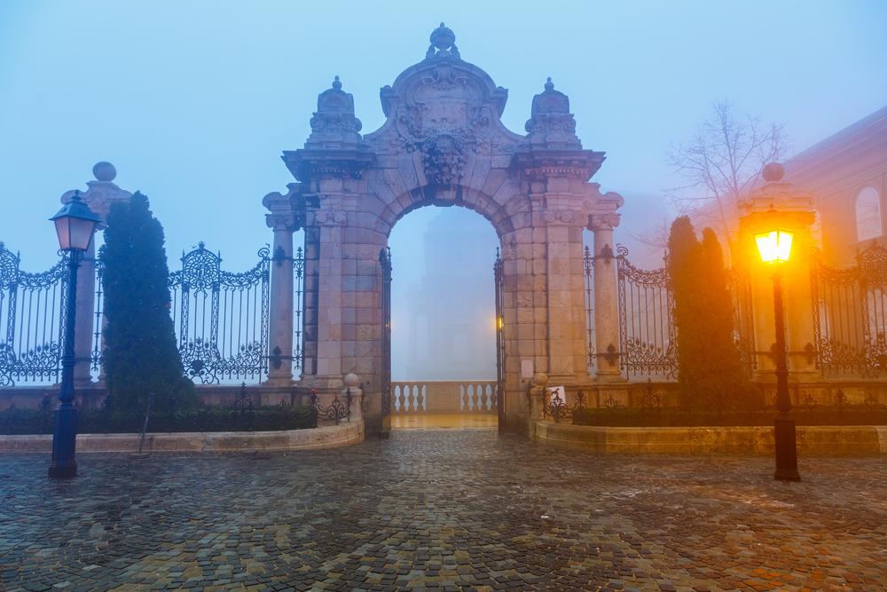 Buda castle at foggy morning Budapest