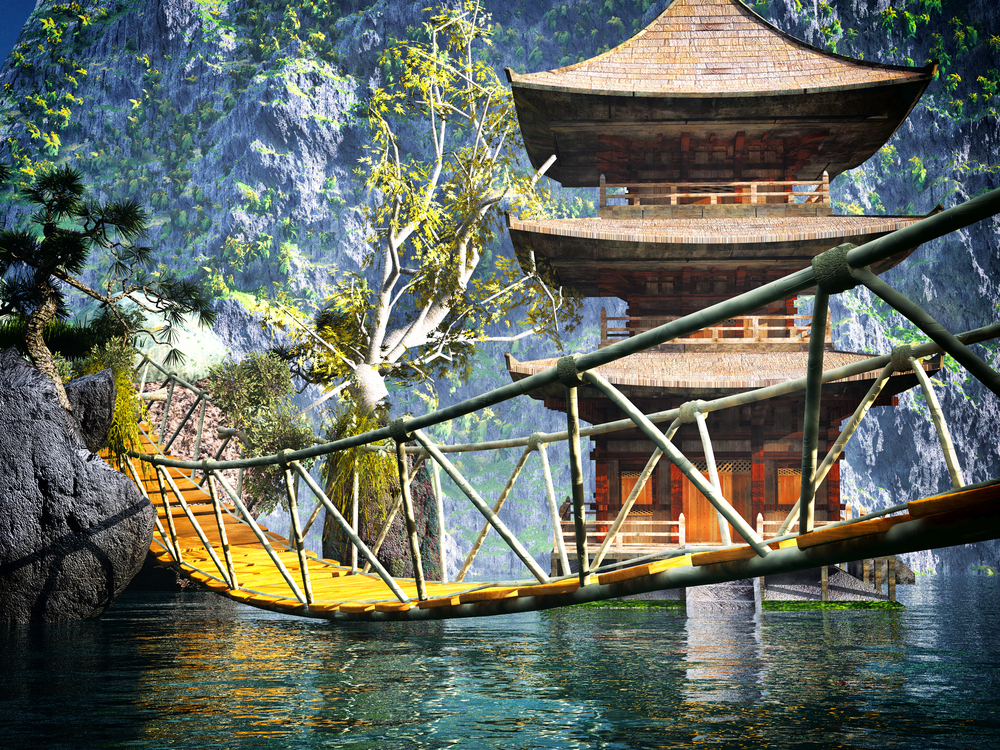 Buddhist temple in mountains with old Japanese rope bridge 9