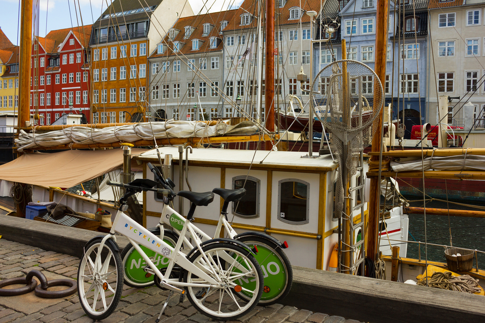 COPENHAGEN Bicycles on waterfront Nyhavn in the center of Copenhagen Denmark