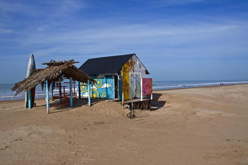 Cabana with a surfboard