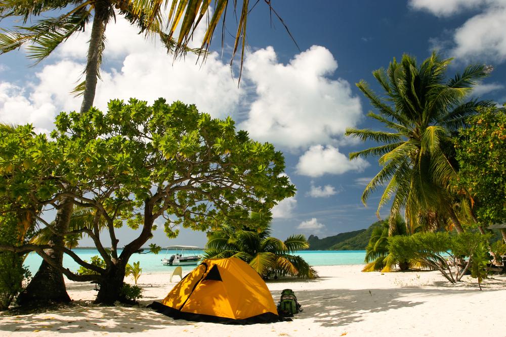 Camp on the paradise tropical beach Maupiti French Polynesia