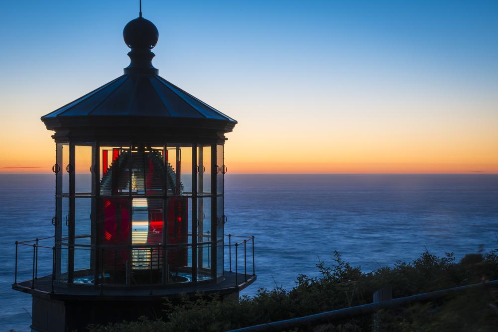 Cape Meares Lighthouse at sunset on the Oregon Coast