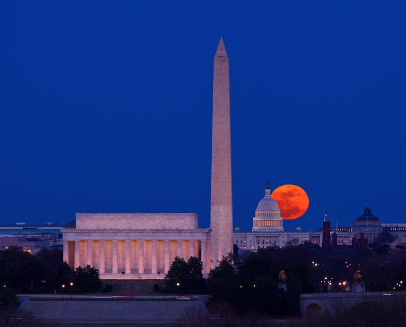 Capitol building in Washington DC with Lincoln Memorial and Washington Monument aligned