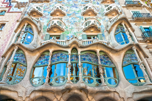 Casa Battlo also could the house of bones designed by Antoni Gaudi with his famous expressionistic style on Decemb