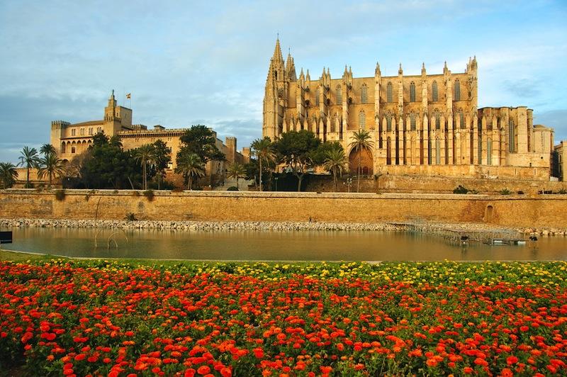 Cathedral and La Almudaina Palace in Palma de Mallorca Spain