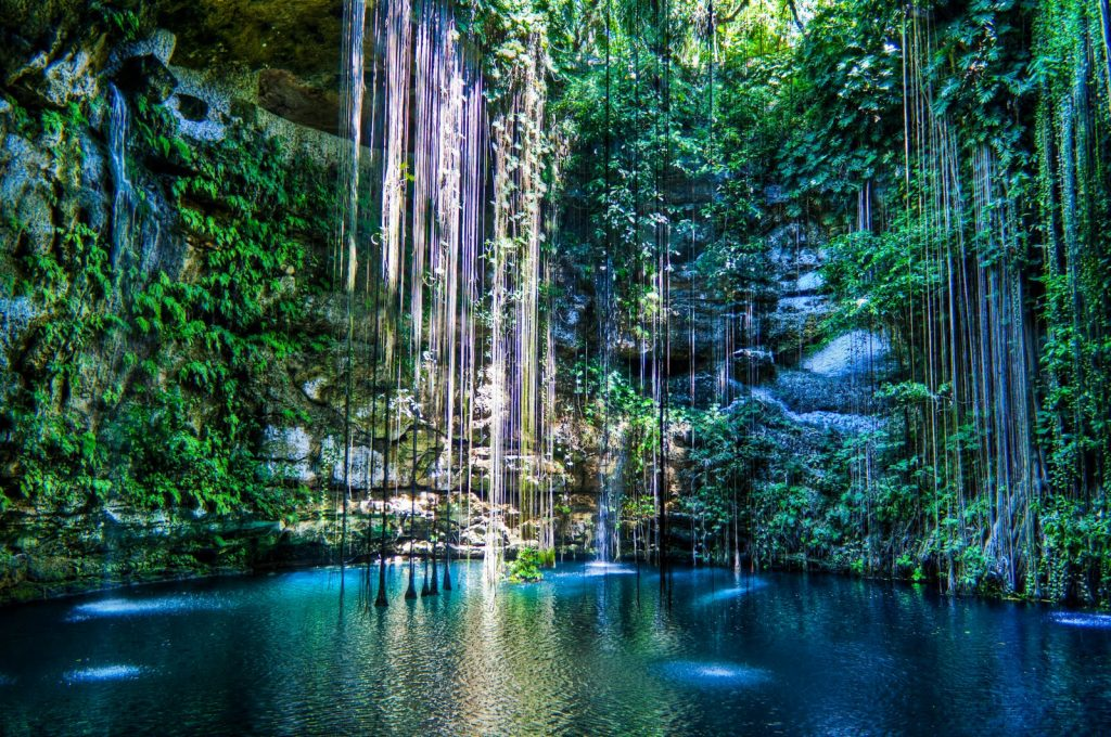 Cenote Ik Kil Mexico Late afternoon view