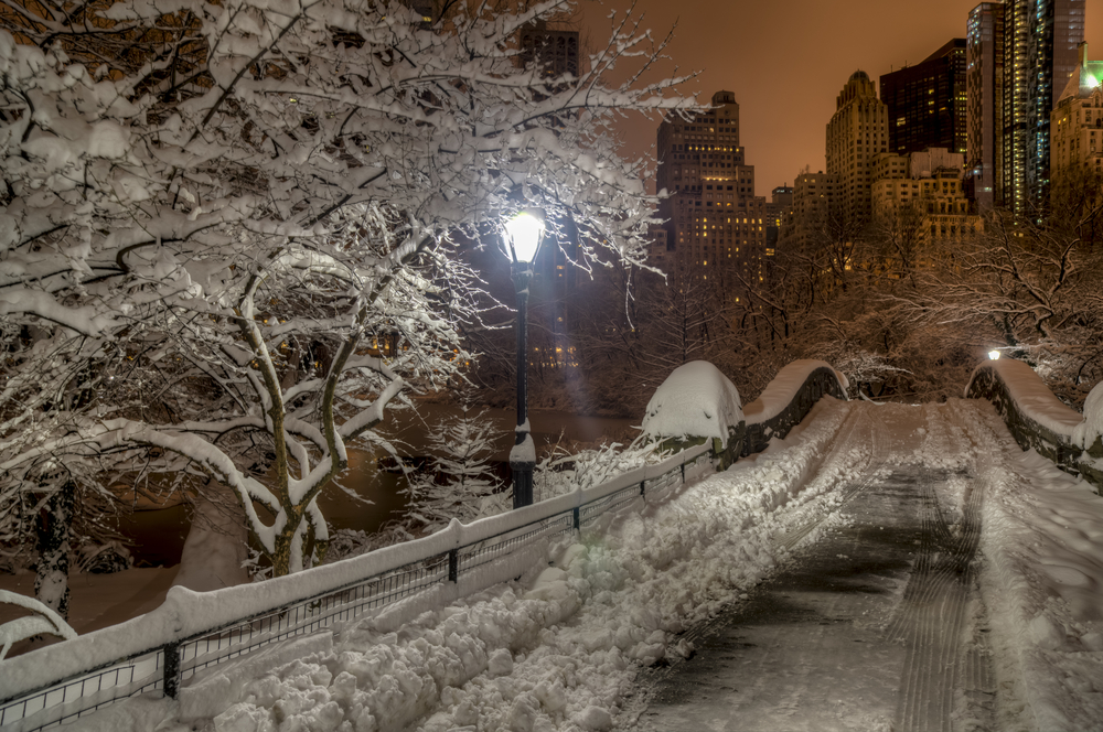 Central Park New York City at Gapstow bridge in the early morning after snow storm