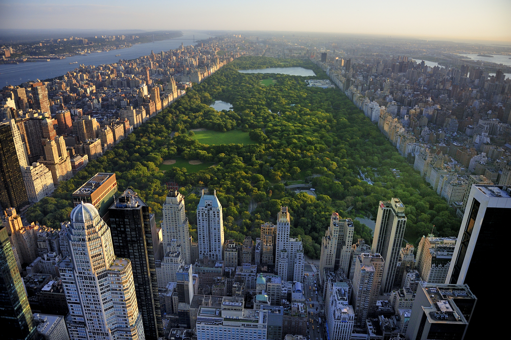 Central Park aerial view Manhattan New York Park is surrounded by skyscraper