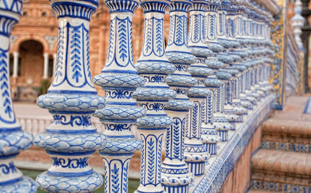 Ceramic bridge in Plaza de Espana in Seville Andalusia