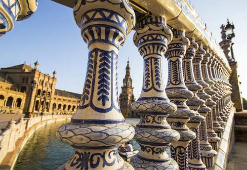 Ceramic fence in Spains Square located in the Parque Maria Luisa was the venue for the Latin American Exhibition of 1929 Sevilla Andalucia Spain