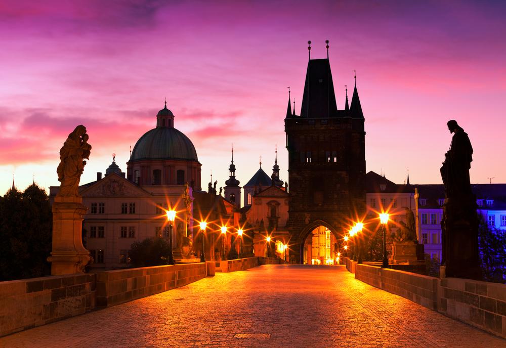Charles Bridge in Prague Czech Republic at dawn