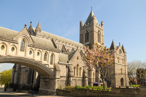 Christ Church Cathedral in Dublin Ireland in spring