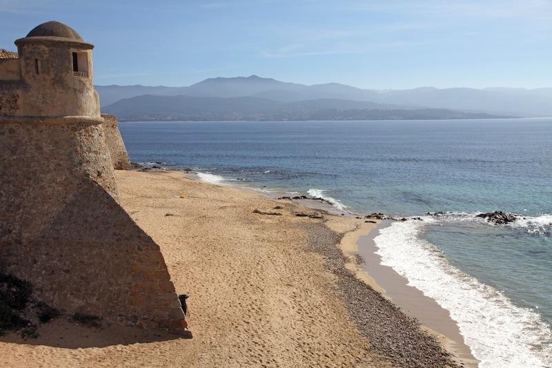 Citadel and beach Ajaccio Corsica