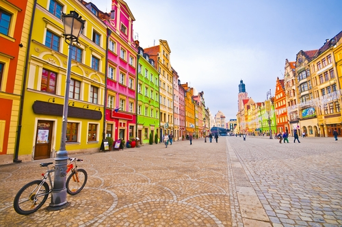 City centre Market square tenements Wroclaw Poland Stock Photo