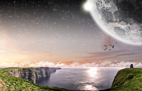Cliff Of Moher in Ireland with Moon