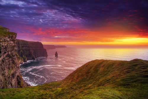 Cliffs of Moher at sunset in Co