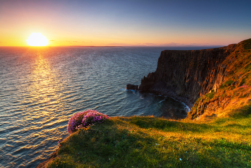 Cliffs of Moher0 at sunset in Co