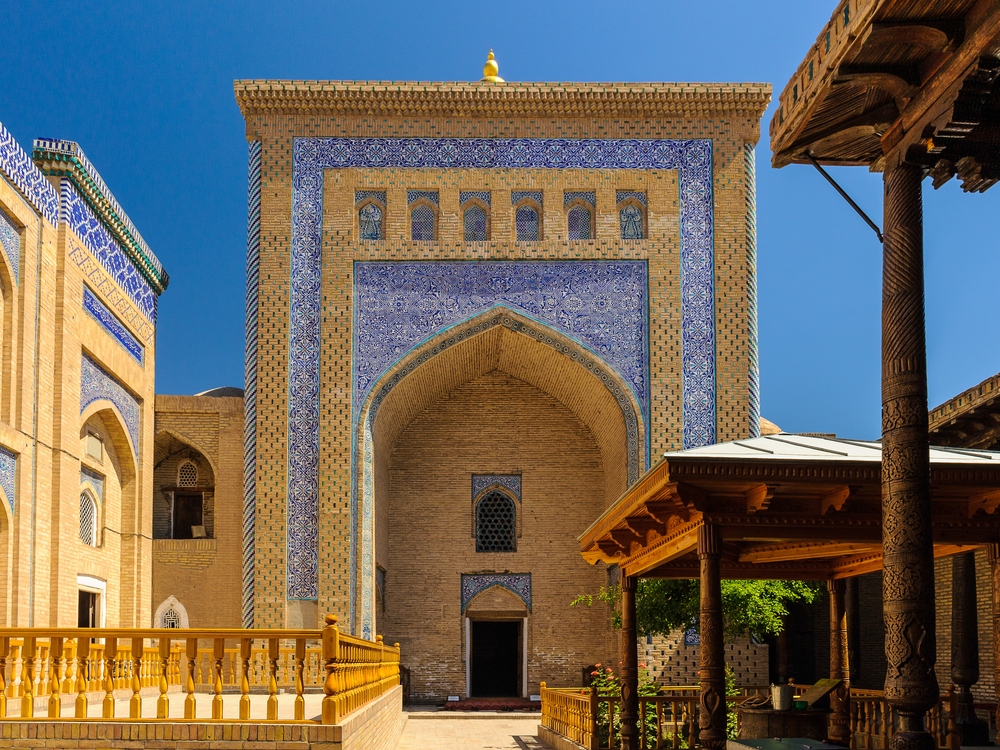 Close view of Itchan Kala the walled inner town of the city of Khiva Uzbekistan