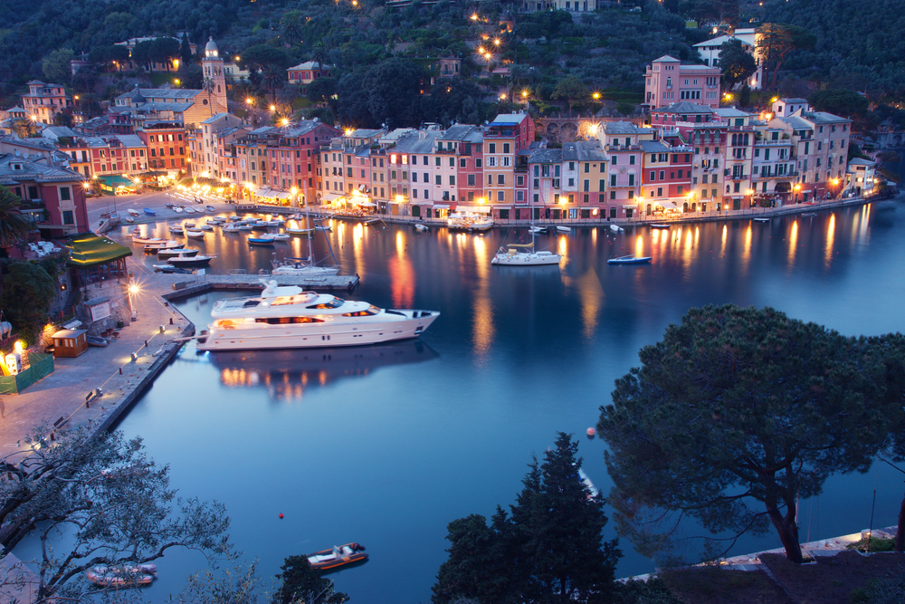 Colorful Portofino0 fishing village at dusk in Liguria Italy 7