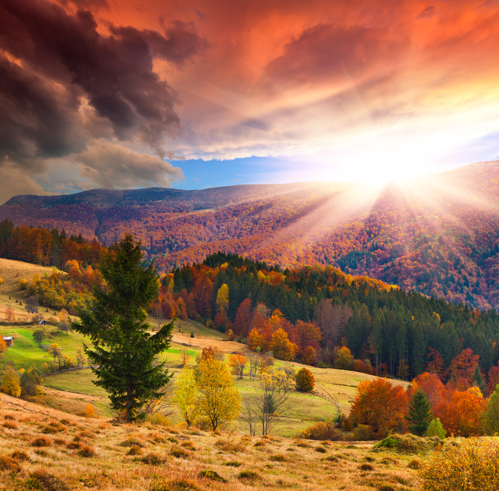 Colorful autumn sunset in the mountains
