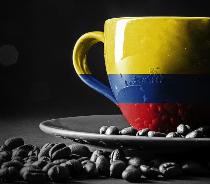 Columbian Flag on cup of coffee