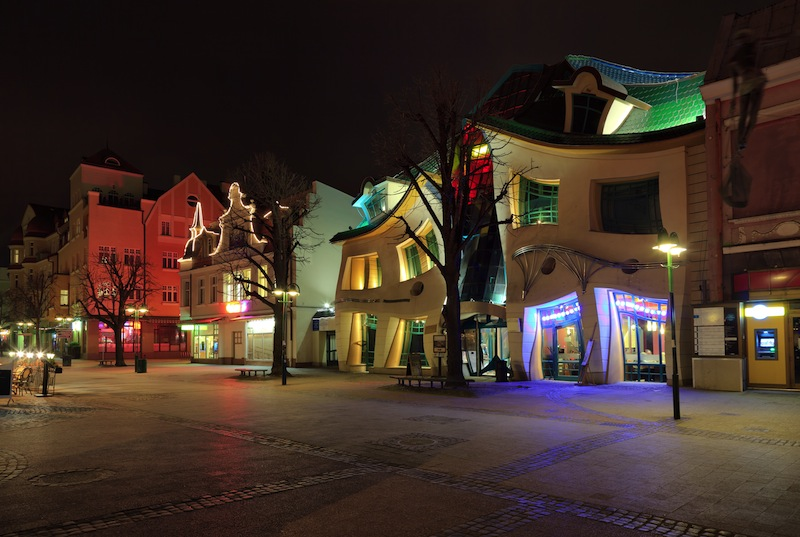 Crooked house on the main street of Monte Cassino in Sopot Poland