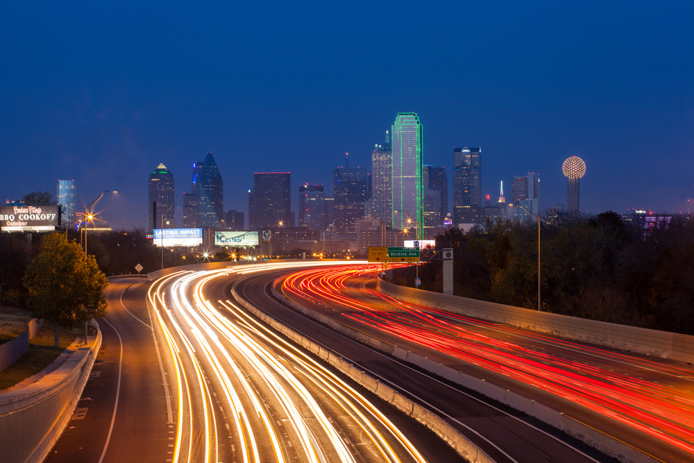 DALLASTEXAS DEC 08 Dallas downtown at dusk on December 08 2012 Dallas is the eighth most populous city in the United States