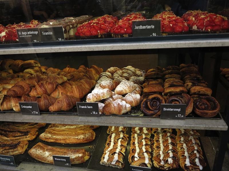 Danish pastries in the display of a Bakery Copenhagen Denmark Stock Photo
