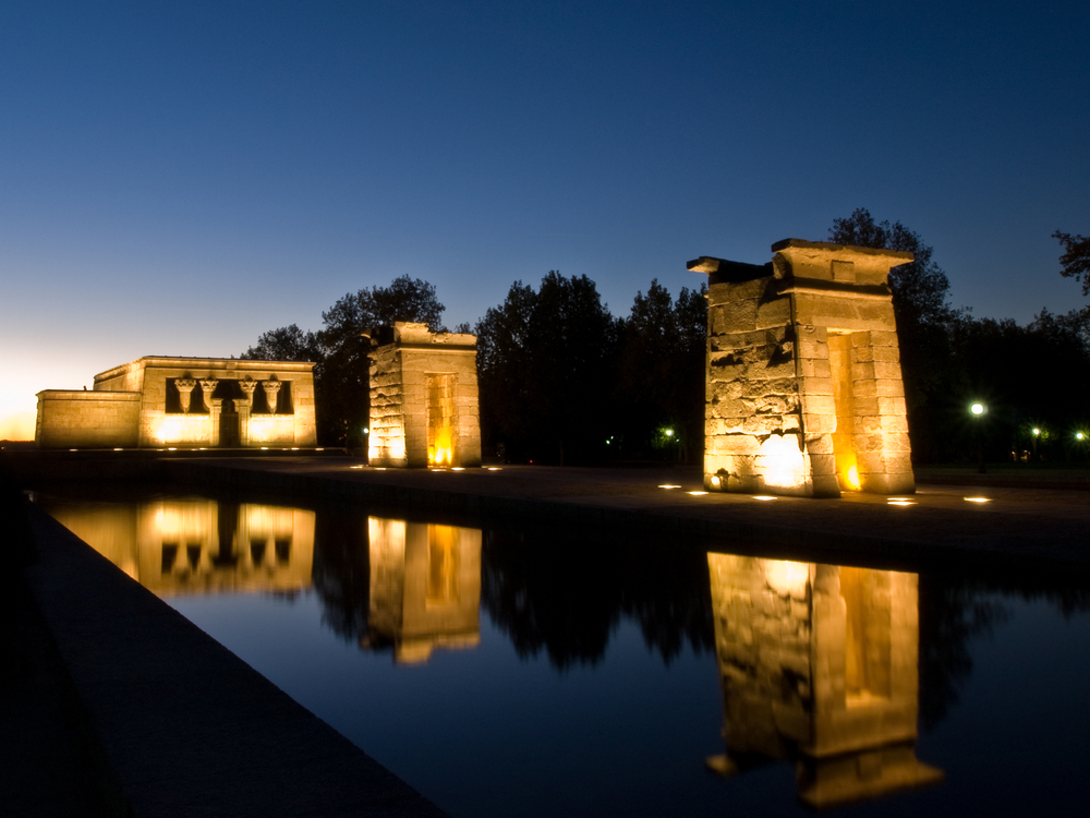 Debod Temple at sunset Madrid Spain