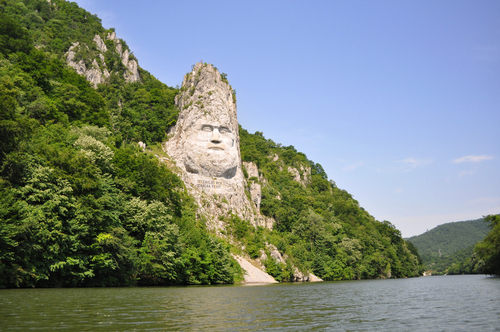 Decebals head carved in rock Iron Gates Natural Park Romania