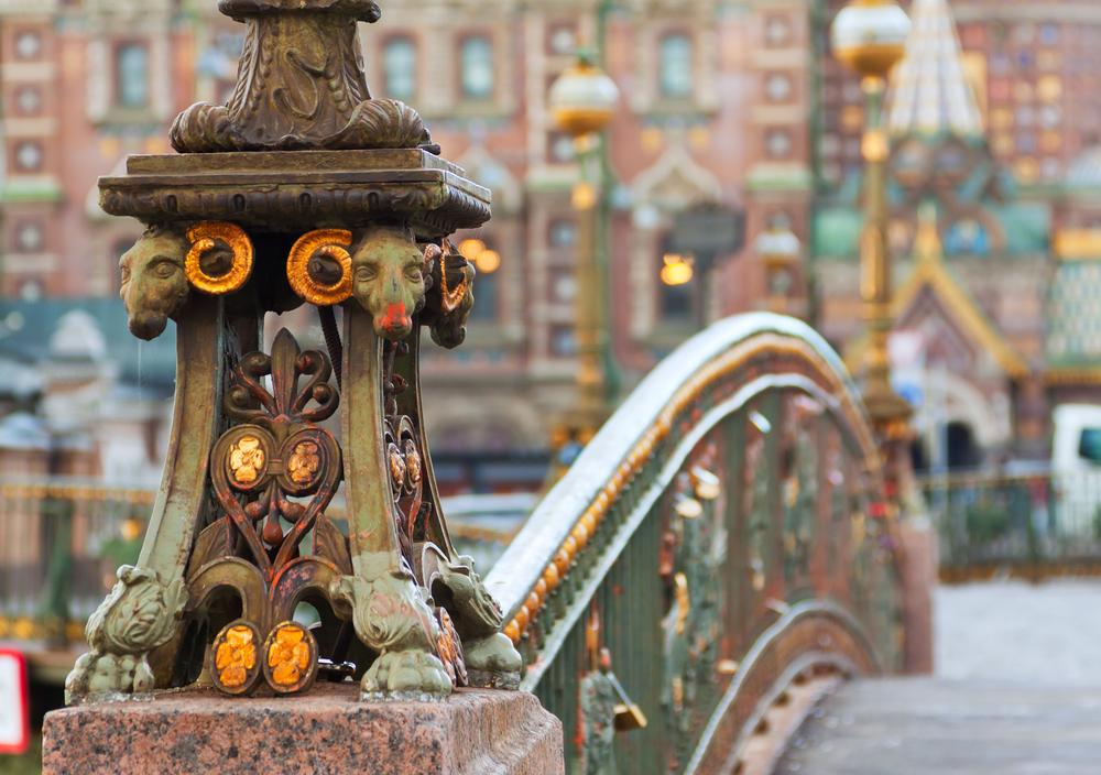 Detail of Malo 9Koniushennyi bridge in Saint Petersburg